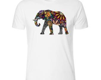Flower Elephant Men's White T shirt