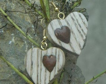 Earrings made of wood and stone heart shape