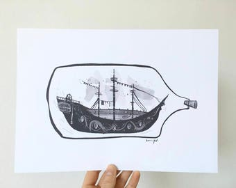 Ship in a Bottle Illustrated Artwork Print