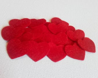 Red Felt Hearts, Red Heart Die Cuts, Valentine's Hearts, Heart Embellishments