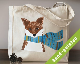 fox tote bag/ fox bag/ eco bag/ Cotton tote bag/ hand-painted tote bag, fox/ animal bag/ fox bag/ fox tote bag/ fox purse/ fox gifts