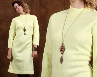 Vintage 60s dress • Knee length Dress • Sweater Dress • yellow hippie dress • Long Sleeve • Warm Wool Dress • Modest dress • Geometric • XL
