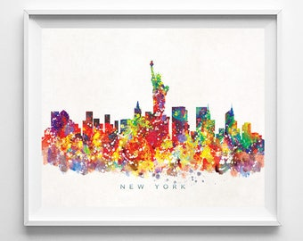 New York Skyline, Print, Watercolor Print, NYC Wall Art, Watercolor Art, City Poster, Cityscape, Home Decor, Valentines Day Gift