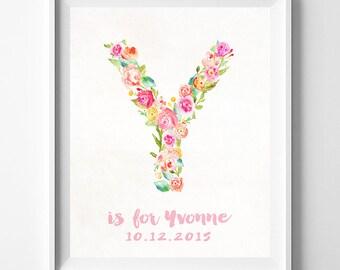 Nursery Posters, Playroom Wall Art, Nursery Wall Art, Yulia, Yasmina, Ysabe, Yoana, Kids Wall Art, Kids Room Decor, Valentines Day Gift