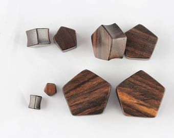 Wood Shaped plugs for stretched ears - Pentagon Plugs for Stretched Ears - Hand Carved Wood - PA51