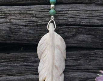 Carved Antler Feather Pendant Necklace .925