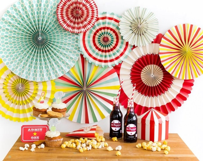 Carnival  Party Fans,  Circus Themed Party Decor, Aqua and Red Pin Wheel Backdrop, Rosettes Paper Medallions, Paper Pinwheel, PLCV01