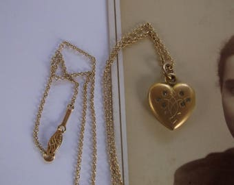 """Antique Victorian Gold Filled Heart Locket with 6 Small Stones, Victorian Design on Front by W&H Co, 1910, on long 19.5"""" Gold filled Chain"""