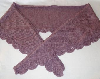 Knitting shawl / violet and leaves / wool & mohair