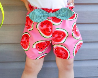 Shorts bermudas - elastic wait - bow detail - watermelons - toddler and kids sizes