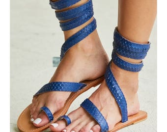 Aspiga Cannes Blue Leather Sandals