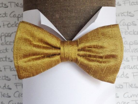 Gold silk bow tie, bow ties for men silk bow ties for men, wedding bow ties, pre tied bow ties, self tie bow ties