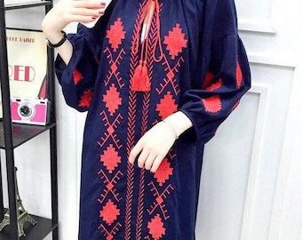 Women tunic dress, cotton tunic dress, embroidered tunic dress, boho tunic dress, Mexican tunic dress, blue, red, S, M , L, long sleeve.