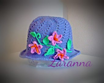 Girls spring hat purple with beautiful flower detail, excuisite hat for girls 6-10 years