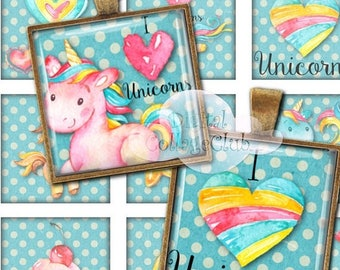 """80 % off Graphics SaLe Unicorn 1"""" x 1"""" Digital Collage Sheet 1 Inch Square Tile Images for Jewelry Making, Pendants, Scrapbooking, Decoupage"""