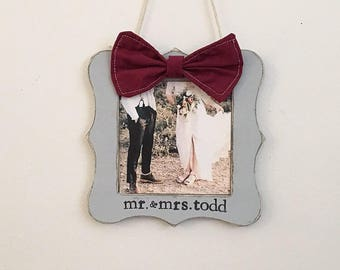 Our first Christmas picture frame ornament, first Christmas married ornament, wedding announcement, mr and mrs ornament, newlyweds gift