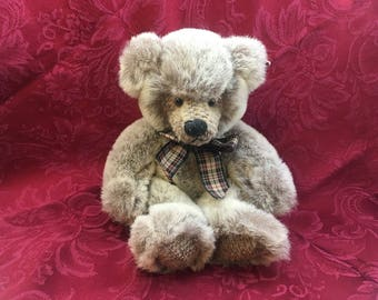 Russ Berrie, Wesley, Bears from the Past, Plaid Bow, Wesley Bear, #100347, Machine Washable Bear, Russ Berrie Bear