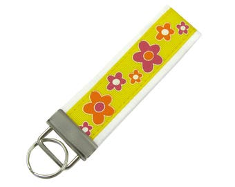 Yellow Key Chain / Key Fob with Cheerful Flowers
