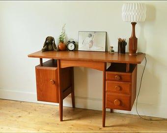 mid century desk teak vintage danish design