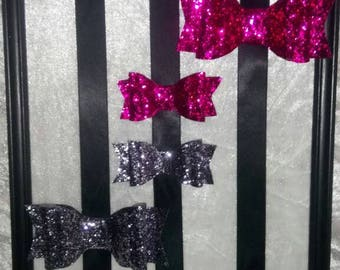 Glitter hair bows. Hair pins. Hot pink and dark silver hair bows.