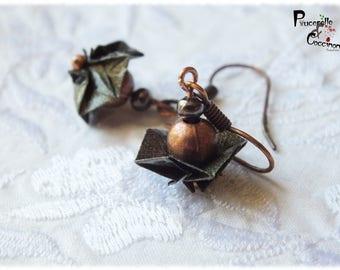 Yulma... copper - origami tato bronze glitter and copper earrings