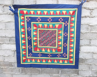 Vintage Wall Hanging Quilt Ethnic Tribal Nomad Asian 1980s 90s Hippie Chic Bohemian Exotic Embroidered