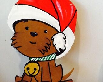 Puppy door hanger, christmas puppy door hanger, puppy sign, puppy door sign, christmas sign, welcome friends sign, Santa sign, snowman sign