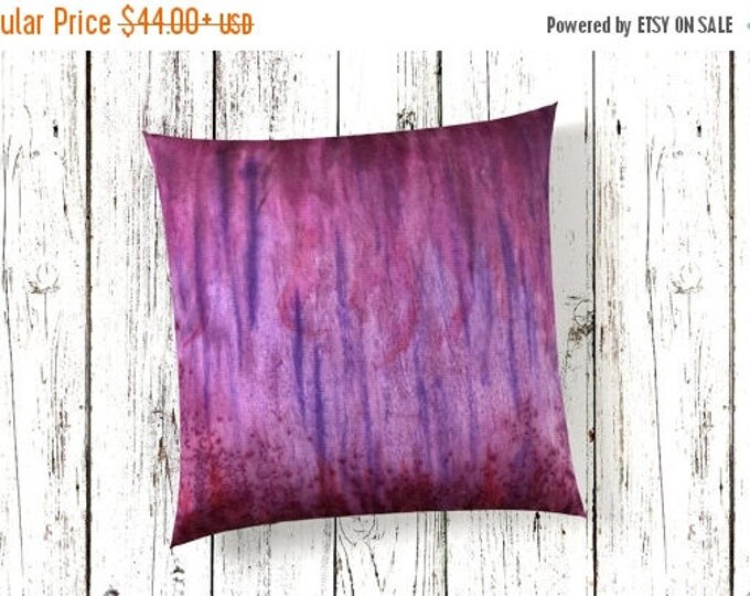 SALE Purple Pillow Cover 18x18-Watercolor Silk Pillow Cover-Boho Decor-Bohemian Decor-Zen Decor-Colorful Modern-Gift for Her
