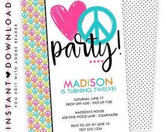 Peace Sign Invitations, Peace Sign Birthday Invites, Peace Sign Birthday Invitations, Peace Sign Birthday, Peace Sign,Peace Sign Party | 438