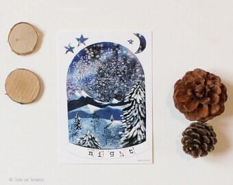 "Map postcard ""Night"", 5, 10 x 14, 7cm"