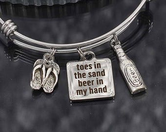 Toes in the Sand Beer in my hand Charm Bracelet Gift, beach vacation bangle bracelet with charms, personalized gift for women