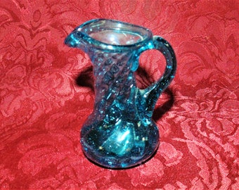 Vintage Miniature Turquoise Blue Hand Blown Glass Pitcher with Applied Handle