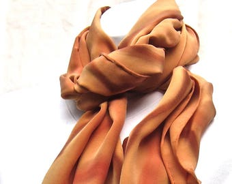Large silk scarf, hand painted, butterscotch, caramel, and brown.  Silk scarf in burnt orange and brown.  Scarf for men, caramel and brown.