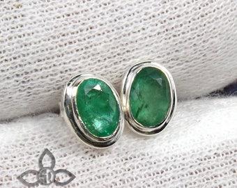 Emerald Stud, Natural Emerald Earring, Solid Silver Earring, Emerald Stud Earring, Cut Emerald Earring, Women Stud, Green Emerald Stud