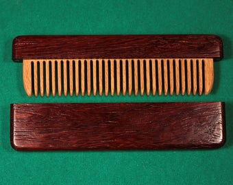Wooden comb in a paduk case