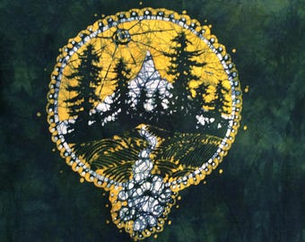 2Xl. tree silhouette mountain batik t shirt, full immersion style(dyed yellow then blue)