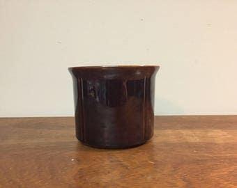 "30% SALE *** 5"" Round Vintage Brown Glazed Ceramic Flower Pot Planter with Flared Rim"