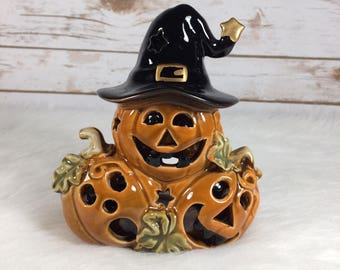 Vintage Halloween Jack O Lantern Pumpkin Candle Holder Witch Hat Ceramic