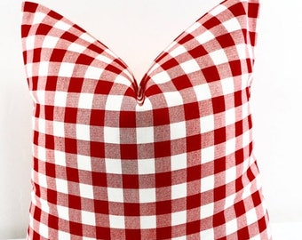 SALE Red Plaid Pillow cover. Red & White Pillow case. Plaid Country style sham cover. Red Sham cover. Select size.