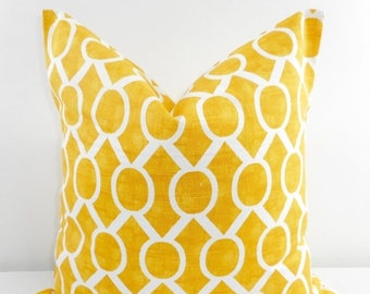 SALE Yellow Pillow cover. Corn Yellow  and white sham cover. Sydney Pillow Cover Sham Pillow case. Select your size.