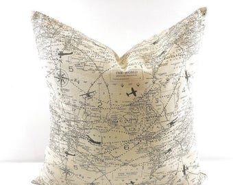 SALE Throw PILLOW. Map Pillow cover. Decorative Pillow. Map sham cover. Natural and grey. Sham Pillow Cover Sham Pillow case. Select your si