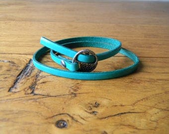 Going green clasp leather bracelet