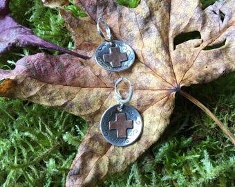 Southwestern Native American  Made Cross Earrings in Sterling