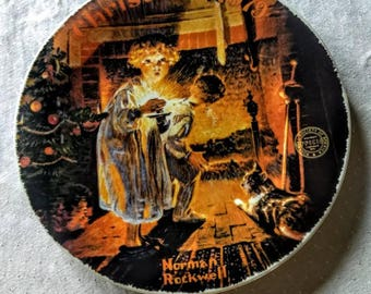 """Norman Rockwell """"Somebody's Up There"""" Limited Edition Collector Plate; Edwin Knowles; Bradex; Christmas Plate; Official Rockwell Society"""