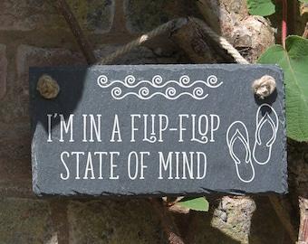 Garden slate sign, flip flop, summer idea, garden ornament, funny sign, anniversary gift, birthday present