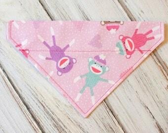 SALE Size Small Ready to Ship Pink Sock Monkey Dog Bandana, Dog Scarf, no tie bandana, slip on bandana, pet bandana, doggy scarf