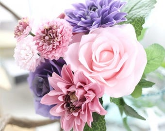 Pink, Purple, Rose, Dahlia, Carnation, fake flowers, artificial flowers, fake bouquet, artificial dahlia bouquet, wedding flowers