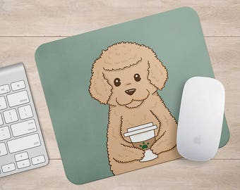 Golden Doodle Drink Coffee / Wine Mousepad, Dog Mouse Pad, Dog Lover Gift Mousepads,Aztec Geometric Funny Laptop Accessories
