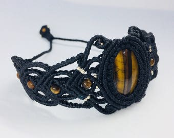 Tigers eye semi precious stone macramé bracelet, black waxed thread, knotted bracelet , woven bracelet , wristband