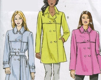 Eclipse SALE Vogue V8884 Misses Double Breasted Trench Coat and Belt Sewing Pattern Size 6 to 14 UNCUT